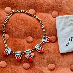 J. Crew Coral Pink Crystal Statement Necklace